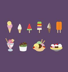 flat design ice cream set vector image