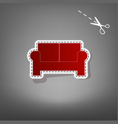 Sofa sign   red icon with for vector