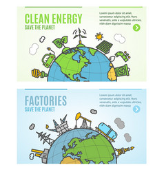 Ecology flyer clean energy and factories banner vector
