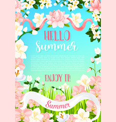 Summer flowers poster of flourish bouquets vector