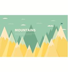 Flat flag on mountain success goal achievement vector