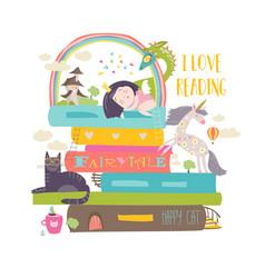 Fairytale concept with bookunicorndragon vector