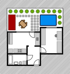House floor plan with garden vector