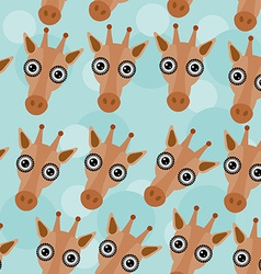 Giraffe seamless pattern with funny cute animal vector