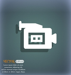 Video camera icon symbol on the blue-green vector