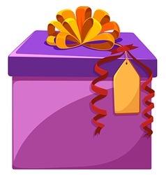 Present box with orange ribbon vector