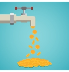 Golden coins fall out of the tap vector image