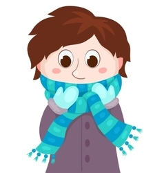 The boy in winter clothes vector