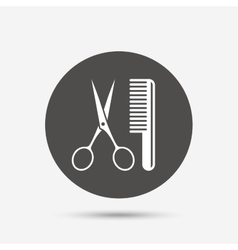 Comb hair with scissors sign icon barber symbol vector
