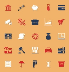 Banking and financial classic color icons with vector