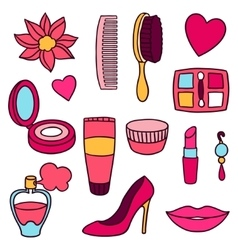 Beauty and fashion set of cosmetic accessories vector