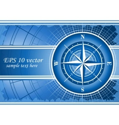 blue background with compass rose vector image