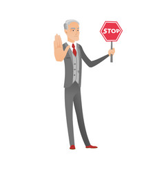 caucasian businessman holding stop road sign vector image vector image