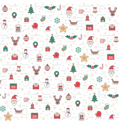 Christmas and happy new year pattern set winter vector
