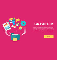data protection video web banner in flat style vector image vector image