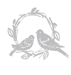 Design with silver birds vector image