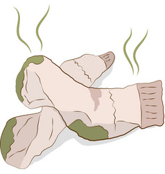 dirty smelly socks vector image vector image