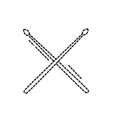 dotted shape drumstick object of wooden to play vector image