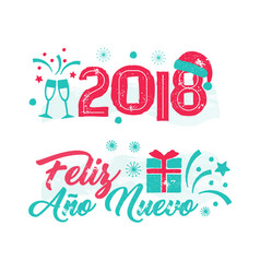 feliz ano nuevo - happy new year spanish language vector image vector image