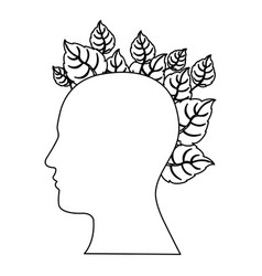 figure human with leaves icon vector image vector image
