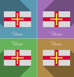 Flags Guernsey Set of colors flat design and long vector image vector image