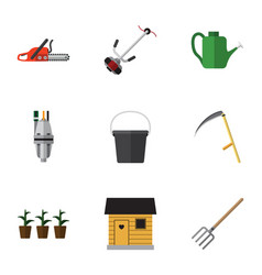 Flat icon farm set of pump grass-cutter pail and vector