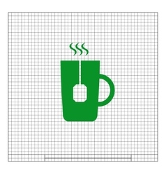 Flat paper cut style icon of hot tea cup vector