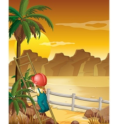 Girl climbing up the palm tree vector image vector image
