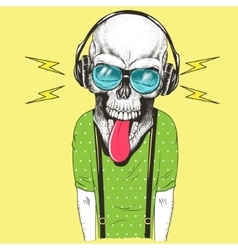 Hand drawn skull listening to music in headphones vector