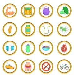 Healthy lifestyle set cartoon style vector image vector image