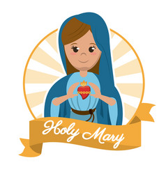 Holy mary sacred heart religion statue image vector