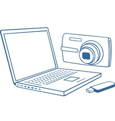 Laptop photo camera usb flash drive vector image vector image
