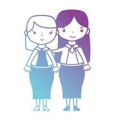 Line teacher with student to class education vector