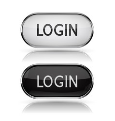 Login black and white oval buttons with metal vector