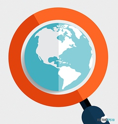 Magnifying glass and globe Business working vector image