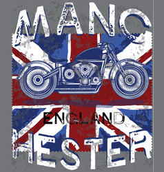 Motor club manchester with england flag vector