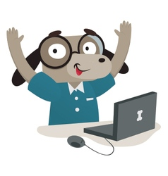 Nerd Dog Using a Computer vector image vector image