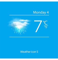 Realistic weather icon cloud with lightning vector image