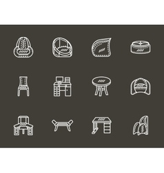 Room furniture white simple line icons vector image