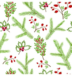 Seamless pattern winter christmas hand drawn vector image vector image