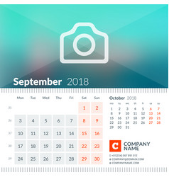 september 2018 calendar for 2018 year week starts vector image vector image