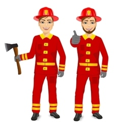 Two happy firemen holding fire axe vector
