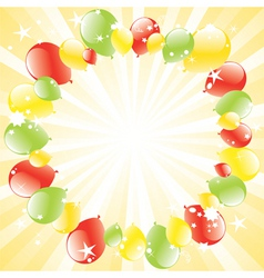vector festive balloons and lightburst vector image