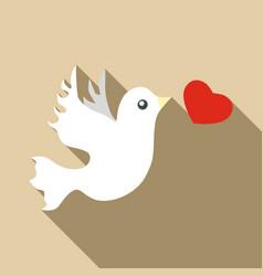 Wedding dove icon flat style vector