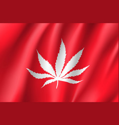 White cannabis leaf on red background vector