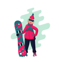 woman with snowboard cartoon active vector image vector image