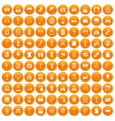 100 mirror icons set orange vector