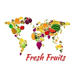 World map with fruit for food design vector