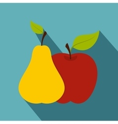 Apple and pear icon flat style vector