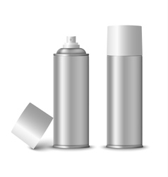 Blank silver spray bottle template vector image